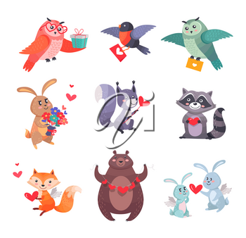 Set of cartoon icons or stickers with loving forest animals. Smiling mammals, birds, home pets with hearts and flowers in paws isolated flat vectors. Funny animal cupids with wings for Valentine greeting cards