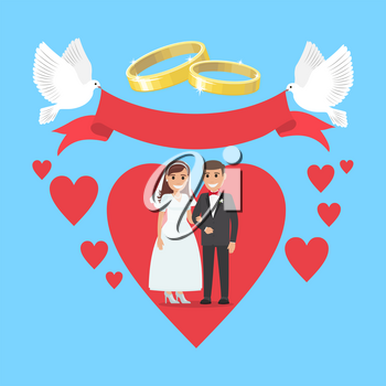 Wedding day concept couple stand on ruddy big heart background with two gold rings and two pigeons holding red wide ribbon. Vector illustration of happy bride in white dress and fiance in black suit