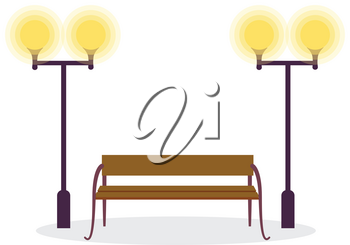 Wooden standard bench and two street lamps isolated on white background. Place for sitting consist of brown board and four steel legs vector illustration. Street bench with lights, editable elements