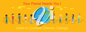 Smiling peoples of all nations holding hands around planet Earth. Vector in flat design. Planet needs you Unite to combat climate change concept. Celebrating International Earth day illustration.