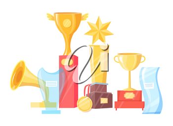 Award cup, statuette and souvenir prize vector illustration set isolated on white. Gold and glass contest or competition winning trophy and medal.