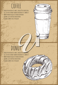 Coffee drink poured in plastic cup, beverage. Posters set with monochrome sketches outline. Donut dessert chocolate sweet icons vector illustration