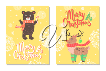 Merry Christmas postcard with deer profile in green long socks, bear in red scarf with candy in paws, calligraphic inscription, fir branches vector