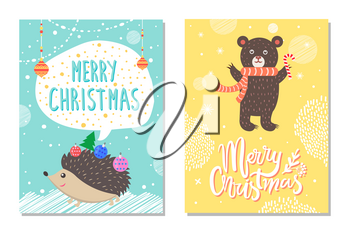 Merry Christmas wishes from cute hedgehog decorated by New year balls and bear with lollipop on background of winter snowflakes vector illustrations
