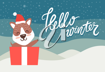 Hello winter greeting card happy bear waving hand from present box on winter landscape, vector illustration with cute animal in santa claus hat