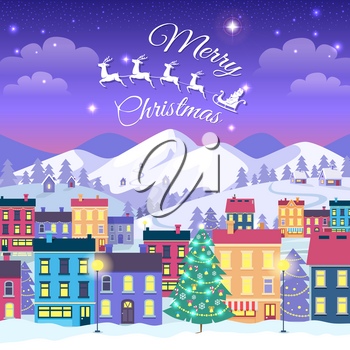 Merry Christmas and Happy New Year. Vector illustration of decorated town houses and adorned spruces in winter time in cartoon style. High mountains covered with snow in evening on background.