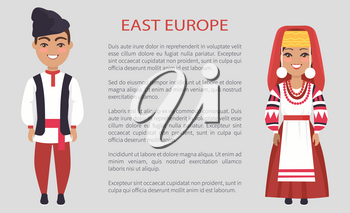 East europe costumes, woman wearing embroidered with red threads dress, man with hat on vector international day poster ethnic people with text