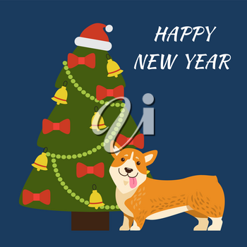 Happy New Year banner representing tree decorated with hat of Santa Claus, garlands and bows with bells, image of dog isolated on vector illustration