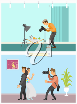 Photographer profession and hobby bright banners set. Still life picture and wedding couple photo, men taking picture with camera vector illustration.