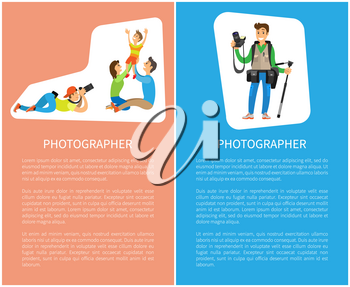 Photographer taking pictures of happy family mother, father and son vector poster with text. Freelance journalist, professional camera gear and tripod