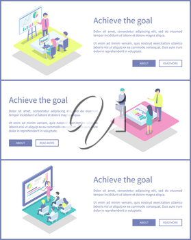 Achieve goal posters set with text sample and businessman vector. Presenter with pointer explaining charts and diagrams. Business conference meeting