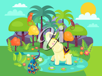 Indian flora and fauna cartoon vector Illustration including peacock, wild monkeys, white elephant, various kinds of trees, flowers with mountains behind