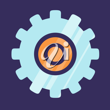 Gear icon logo design isolated on blue background. Mechanical element made of stainless steel vector illustration in flat style