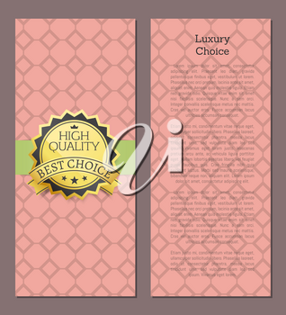 Luxury choice high quality award best choice vector illustration banner on pink background with rhombus and place for text on poster