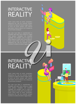 Interactive reality tennis set posters with people using innovative technologies. Woman downloading files form web, man playing games on screen vector