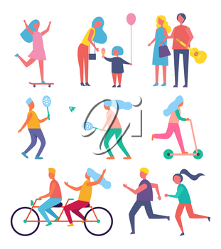 Skater woman and family isolated icons vector. Mother and child eating ice cream dessert. People playing tennis, riding bicycle and jogging together
