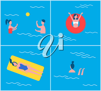 Swimming pool people set vector. Woman raising hands in lifebuoy, lady relaxing on mattress. Couple playing in water polo with ball, swimmer female