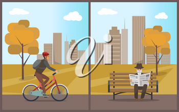 Old man elderly male with newspaper in hands sitting on wooden bench set vector. Cyclist riding bicycle and wearing protective helmet. Autumn park