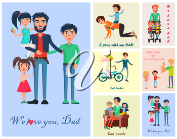 Happy life moments with father vector colorful poster of dad with three kids near six small photos of daddy s care and love