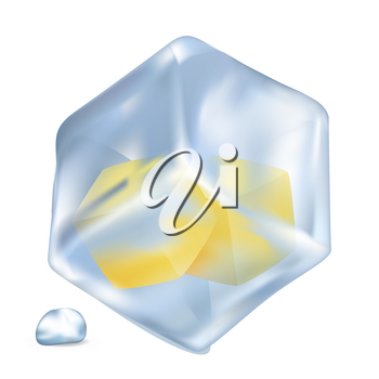 Small frozen lemon cubes in big cold ice cube with shiny water drop beside isolated vector illustration on white background.