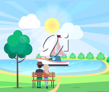 Couple sitting on bench admire floating yacht with white-pink sails on water in park in summertime. Relaxation outdoors in sunny weather vector poster