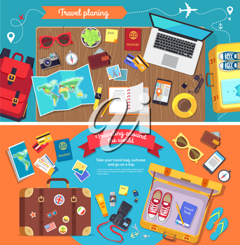 Travel planning poster with icons necessary for good holidays vector illustration. Accessories for voyage, computer luggage and personal things