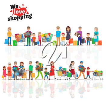 We love shopping concept with two horizontal reflecting lines of hilarious people holding goods. Vector illustration of kids with parents and elderly people that hold household appliances etc.