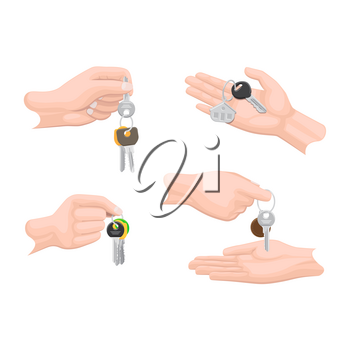 Hands passing keys to another human arms set on white. Buying or selling commercial process of houses and other things. Vector flat collection of human fingers holding and passing keys with keys rings