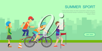 Summer sport banner. Healthy lifestyle fun concept. People in sports uniforms riding a bike, roller skating, skateboarding and running on background of urban landscape. Leisure activities