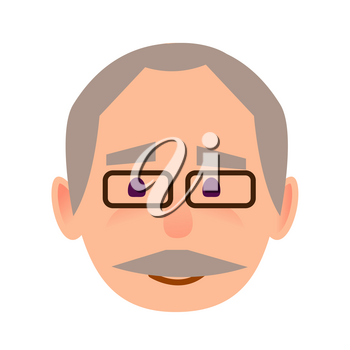 Positive old man face icon. Grey-haired, mustached grandpa in glasses with calm facial expression flat vector isolated on white background. Pensioner cartoon portrait for user avatar illustration