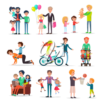 Loving fathers make presents for children, walk with them, play games, teach ride bicycle and read vector illustrations set.