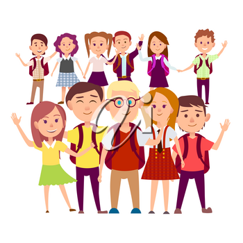 Joint snapshot of classmates 11 pupils on white background. Cheerful schoolchildren holding hands, swings their arms vector illustration.
