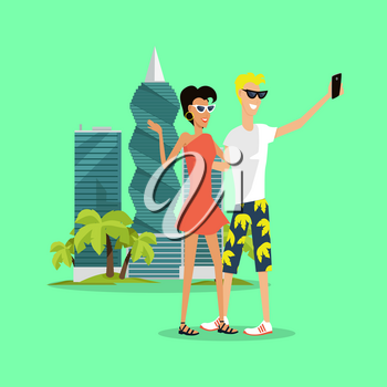 Vacation in Panama vector concept. Flat style. Travelers on trip. Young smiling couple in summer clothes making selfie near of modern Panama-city buildings. Leisure in tropics. For travel companies ad
