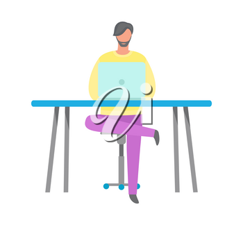 Worker using computer at table, male portrait view, man putting one leg over the other. Working process with laptop, wireless device and workplace vector