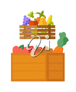 Seasonal food vector, isolated box with meal fresh organic ingredients in basket. Flat style grapes and tomato, carrots and peas, corn and vitamins