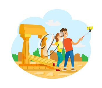 Ancient ruins, tourists in Rome or Greece taking selfie vector. Travelers couple and broken pillars, world exploration, journey or trip, man and woman