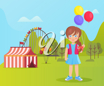 Girl holding balloons vector, kid in amusement park spending weekends. Schoolgirl with ferris wheel and carousels, tents of sellers. Trees and lawn