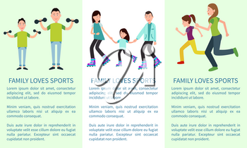 Family loves to learn and sports bright banners with active parents and their kids, sport exercises, roller skating, text sample, vector illustration