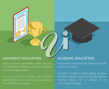 University and academic education template vector illustration. Golden trophy prize near paper award and black student hat above text