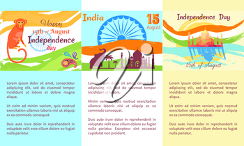 Happy Independence Day of India vector colorful poster with symbolic elements and animals, text information. Celebration of national asian holiday