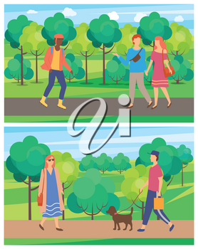 Meeting of man and woman in park, passerby on roller-skates, people going on road near trees, walking of male and female character, person with dog vector