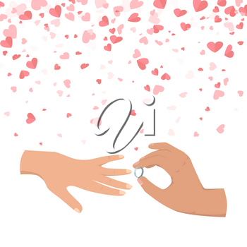 Male hand wearing ring to female. Wedding of people, symbol of engaged couples, making proposal. Postcard decorated by hearts, marriage in flat style vector
