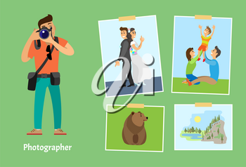 Photographer with powerful lens digital camera and photos. Wedding picture, family on lawn, wild grizzly bear and landscape vector illustrations.