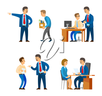 Boss professional director interacting with workers vector. Man leaders of company supervising man, recruitment workers employment and fire, discharge