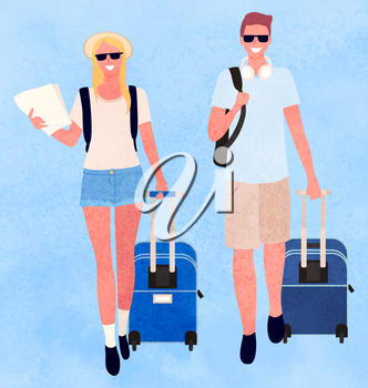 People traveling together vector, isolated man and woman with luggage. Couple on vacation, trip of pair carrying map and documents for journey flat style. Flat cartoon. Family weekend