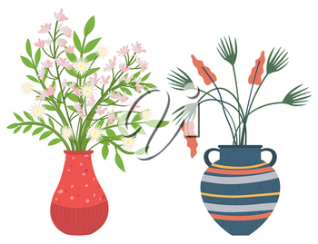 Flowers in vases, floral decor for home flat style flourishing on branches, plant with frondage, tender and elegant design, container interior. Isolated flowerpot with blooming plant . Vector in flat