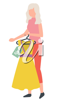 Shopping female character with grey hair vector, isolated woman holding dress on hanger. Price tag with sale, discount on item, fashionable clothing style