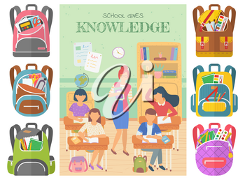 School gives knowledge vector, teacher with students raising hands to answer question. Set of bags with supplies, rulers and textbooks in classroom. Back to school concept. Flat cartoon
