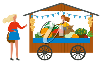 Trade tent with fresh ripe vegetables. Female vendor standing behind counter. Girls with basket buying fruits. Street stall or kiosk vector illustration