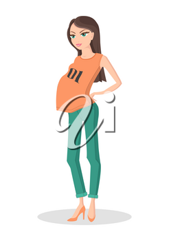 Pretty lady in color casual clothes for pregnancy orange shoes and shirt with printed numbers, green trousers, vector illustration with white backdrop